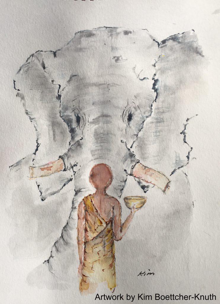 Buddha and Elephant painted by Kim Knuth