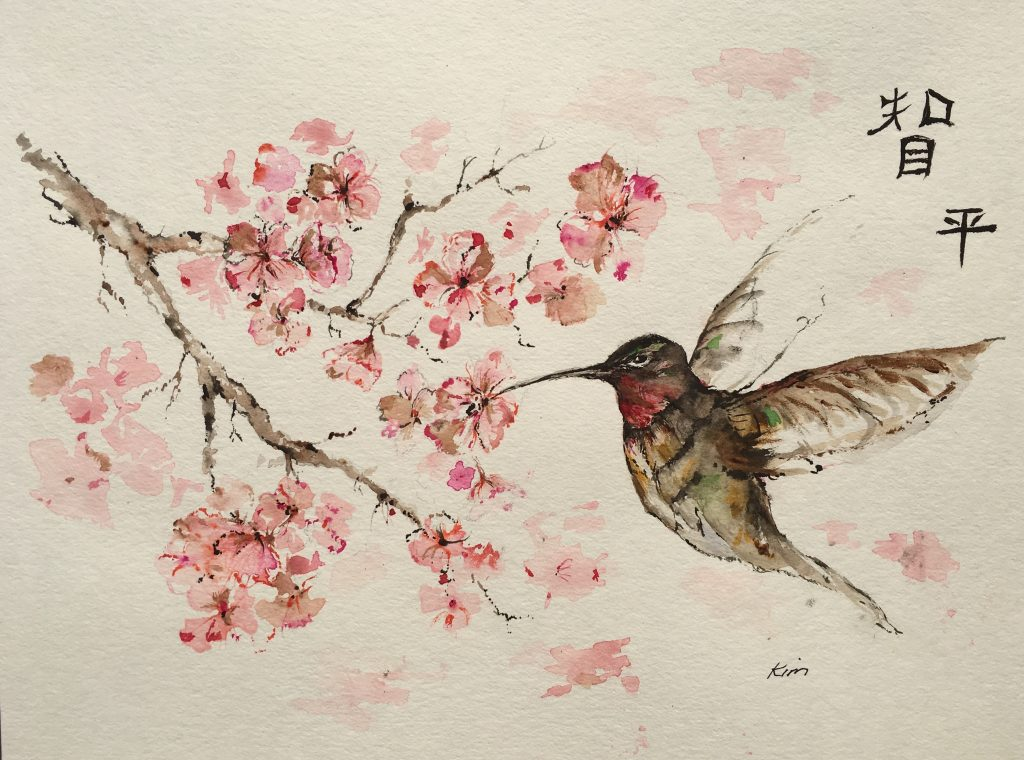 Hummingbird painted by Kim Knuth